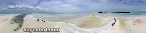 flex maslan kayakfari Barracuda Keys shoal sandbar kayak marvin paddle sugarloaf backcountry beach bay coral reef aerial photography camp panorama 360