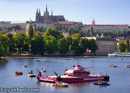 2015 Flex Maslan Prague kayak vltava kayakfari art photography charles bridge czech republic 420 Vysehrad kajak river gothic castle pink tank David Černý
