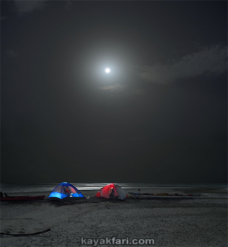 Flex Maslan kayakfari kayak art space Barracuda Keys shoal Marvin camp tent red blue pill photography moon sandbar