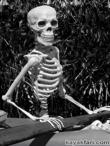 Flex Maslan halloween kayak skeleton kayakfari evil horror everglades humor paddle photography b&w dark nightmare skull zombie fun