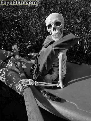 Flex Maslan halloween kayak skeleton kayakfari evil horror everglades humor paddle photography b&w dark nightmare skull zombie fun