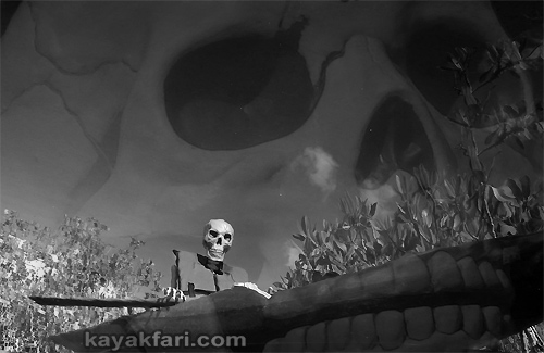 Flex Maslan halloween kayak skeleton kayakfari evil horror everglades humor paddle photography b&w dark nightmare skull zombie