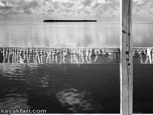Flex Maslan kayakfari art chickee birdshit kayak everglades photography Florida Bay guano bird graffiti text johnson key light black and white