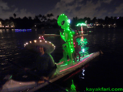 Flex Maslan Kayak Winterfest Boat Parade Christmas lights kayakfari alien Ft Lauderdale Holidays santa sombrero paddle photography 2015