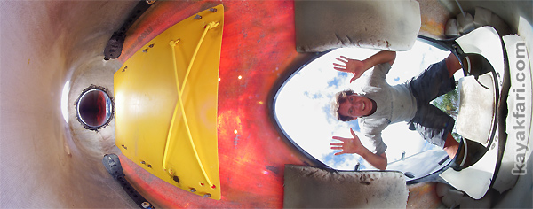 Flex Maslan kayakfari underdeck storage seda glider kayak tech inside cockpit shelf upgrade miami florida banana boat photo panorama