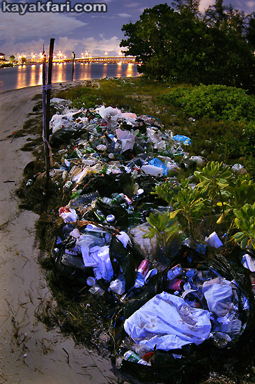 Flex Maslan kayakfari Miami river trash Biscayne garbage Everglades kayak litter dumping pollution environment water quality broken glass night basura