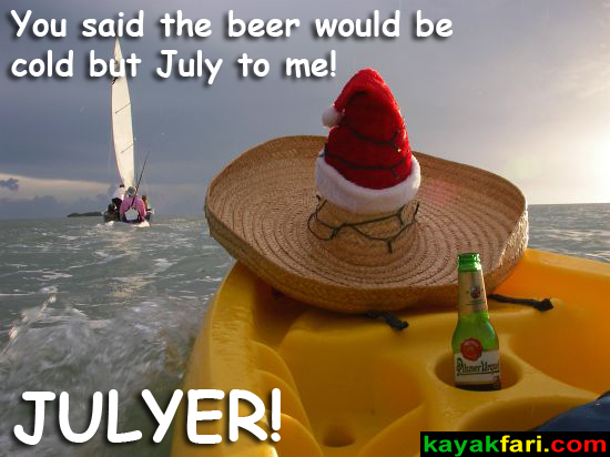 Flex Maslan sombrero kayakfari Julyer kayak everglades santa miami florida Viva las Fiestas Julytome paddle humor fun July