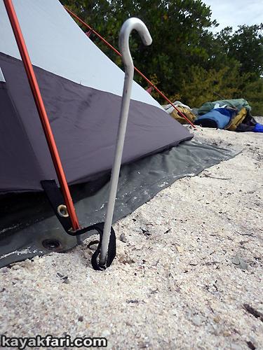 Flex Maslan kayakfari.com kayak canoe camp tent spike peg everglades florida bay big 10 inch humor aluminum size matters kayakfari