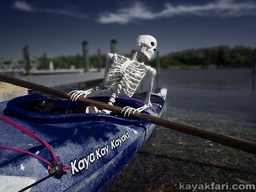 Flex Maslan kayakfari johnson key chickee paddle everglades florida bay kayak camp skeleton photography halloween kaya kay humor
