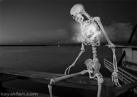 Flex Maslan halloween kayak Stiltsville Miami skeleton kayakfari art photography dark corpse kaya kay dead paddle night fright body bag surreal