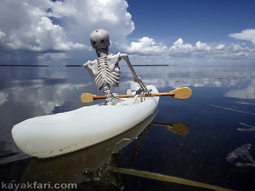 Flex Maslan kayakfari everglades florida bay kayak halloween art photography sky paddle skeleton humor dead