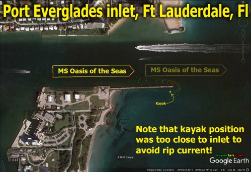 Flex Maslan kayakfari port everglades kayak inlet oasis cruise ship danger rip current paddle ft lauderdale ocean satellite
