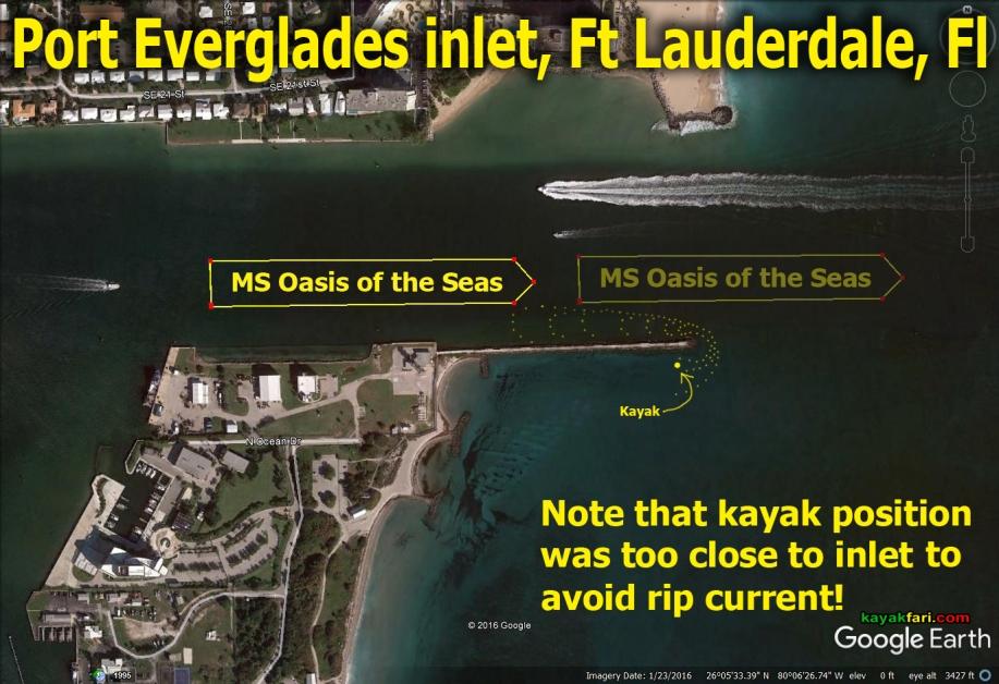 Flex Maslan kayakfari port everglades kayak inlet oasis cruise ship danger rip current paddle ft lauderdale ocean satellite