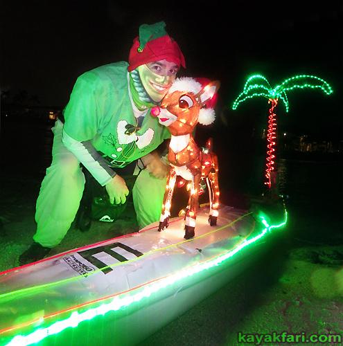 Flex Maslan Kayak night lights LED fireworks kayakfari paddling florida Holidays parade new year boca raton Winterfest