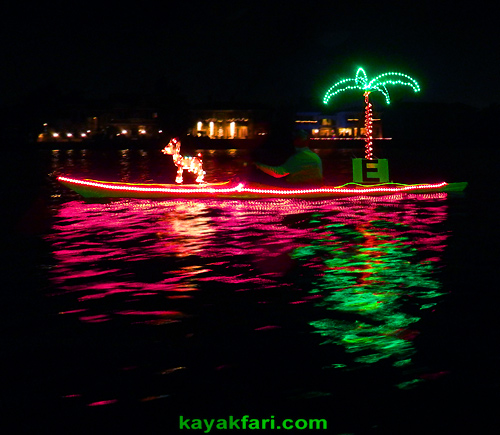 Flex Maslan Kayak night lights LED fireworks kayakfari paddling florida Holidays parade new year boca raton Winterfest