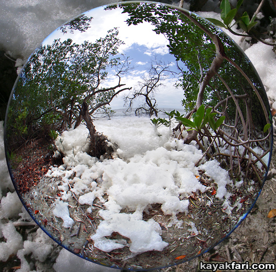 Snow Rabbit Key kayakfari Florida Bay kayak winter photography art illusion climate alternative news fisheye sea foam