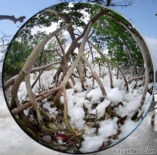 Snow Rabbit Key kayakfari Florida Bay kayak winter photography art illusion climate alternative news fisheye sea foam
