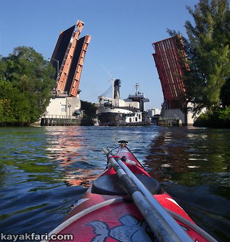Flex Maslan kayak Miami river kayakfari ship tug Biscayne bay paddle Betty K florida photography shipyard freighter