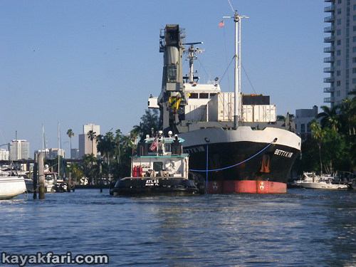 Flex Maslan kayak Miami river kayakfari ship tug Biscayne bay paddle Betty K florida photography shipyard freighter