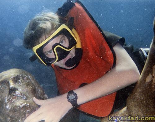 Flex Maslan kayak Jesus Christ statue Reef kayakfari key largo dry rocks paddle keys dive snorkel abyss Pennekamp 1982