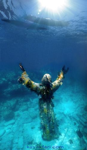 Flex Maslan kayak Jesus Christ statue Reef kayakfari key largo dry rocks paddle keys dive snorkel abyss Pennekamp