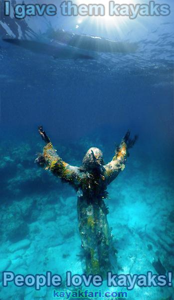 Flex Maslan kayak Jesus Christ statue Reef kayakfari key largo dry rocks paddle keys dive snorkel abyss Pennekamp meme
