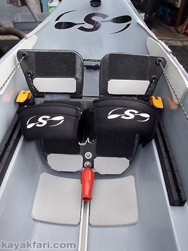 Flex Maslan kayakfari stellar surfski ses kayak grey ghost seat foam padding foot pedals paddle fitness fatigue