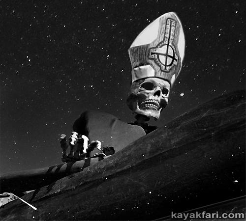 flex maslan kayakfari papa emeritus ghost kayak paddle dark gothic art humor parody metal pope mitre hat