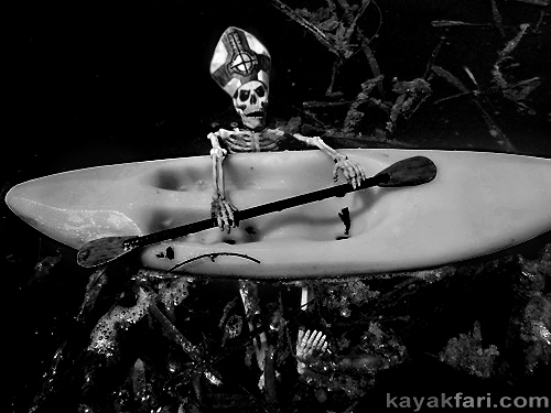 flex maslan kayakfari papa emeritus ghost kayak paddle dark gothic art humor parody metal pope mitre hat