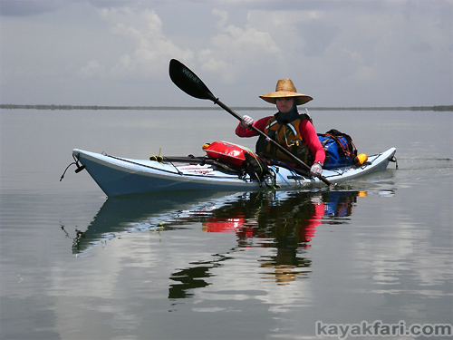 flex maslan kayakfari florida bay kayak summer paddle everglades chickee Camp flats tide turtle grass Keys heat adventure thunder storm