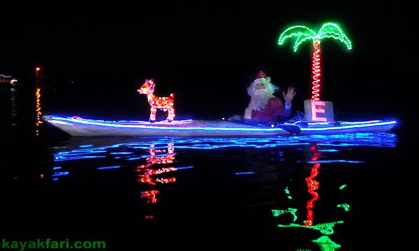 flex maslan Boca Raton Kayak Christmas kayakfari parade Holidays lights Winterfest paddle Santa Claus alien