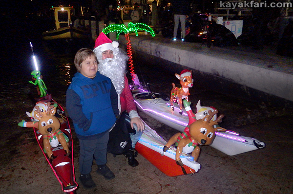 flex maslan Boca Raton Kayak Christmas kayakfari parade Holidays lights Winterfest paddle Santa Claus alien