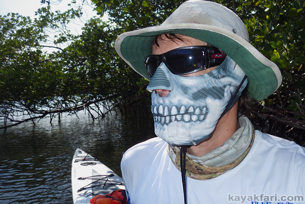 Flex Maslan kayak sun face protector kayakfari fantom mask everglades shade sunburn breathe skull florida hot paddle