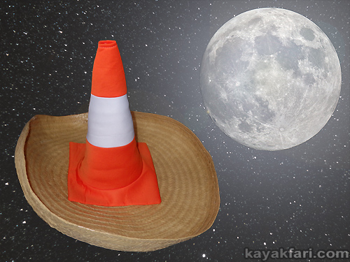 sombrero kayakfari safety orange kayak paddle visibility navigation miami urban florida boating aid humor