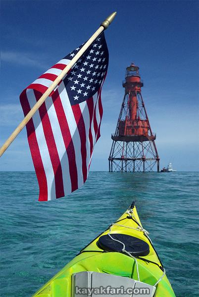 flex maslan Kayakfari American Shoal lighthouse kayak paddle dive reef sugarloaf coral history photography shipwreck