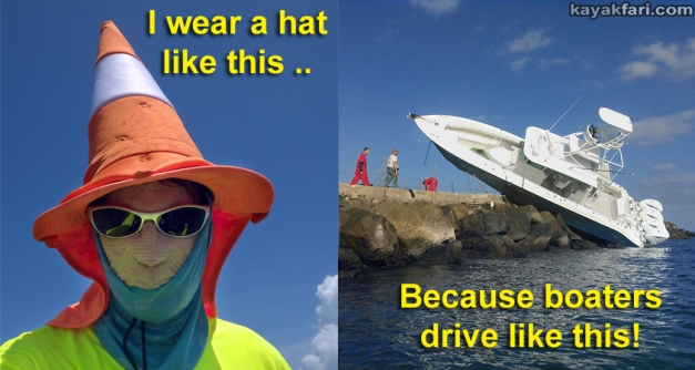 sombrero kayakfari safety orange cone hat kayak paddle navigation miami urban florida boating visual signal